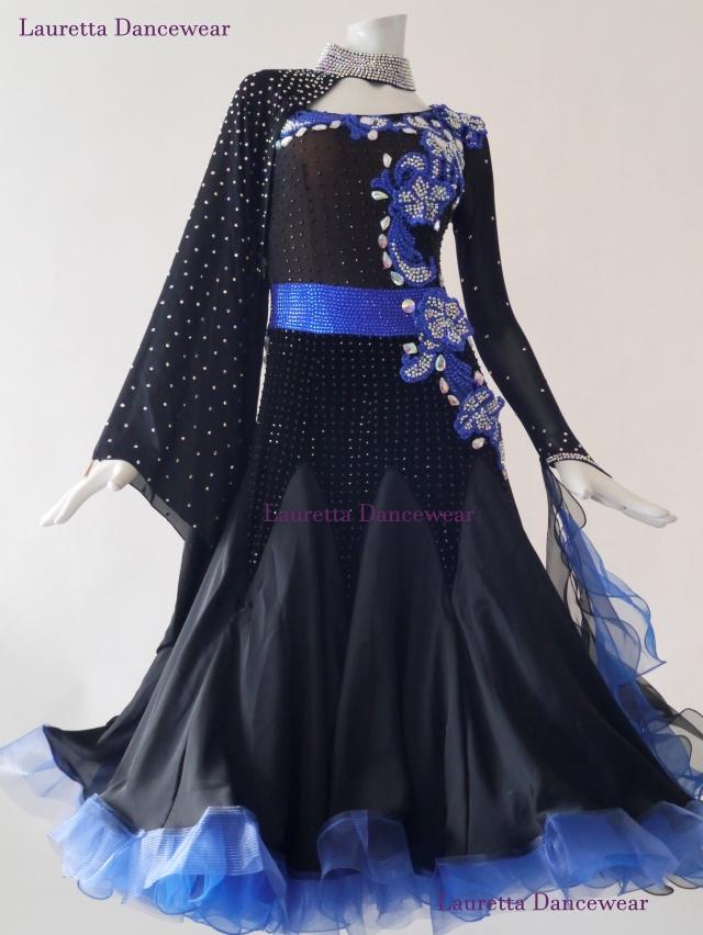 【社交ダンスドレス・衣装】スタンダード/モダン 高級仕様 ブラック/ブルー ST20887(M)