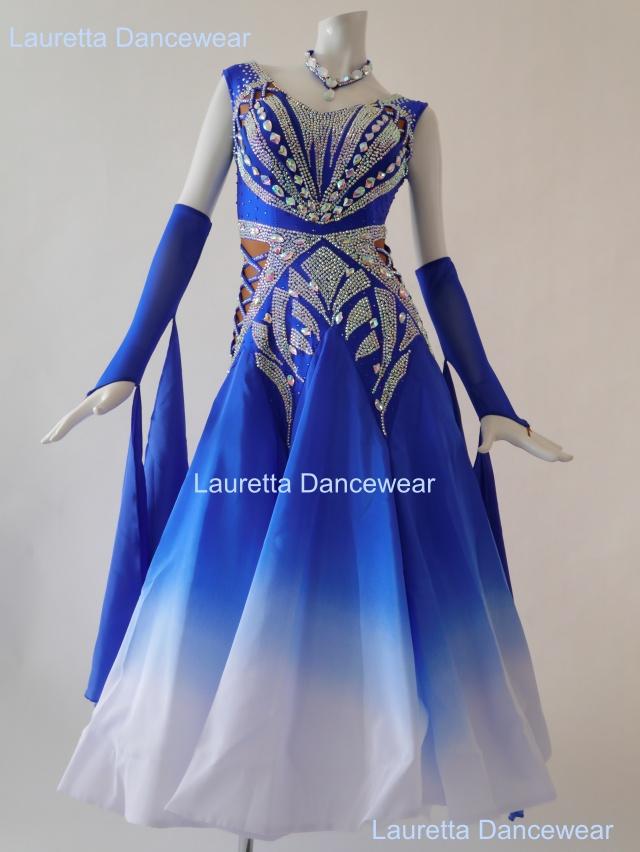 【社交ダンスドレス・衣装】スタンダード/モダン 高級仕様 ロイヤルブルー ST20905(M)