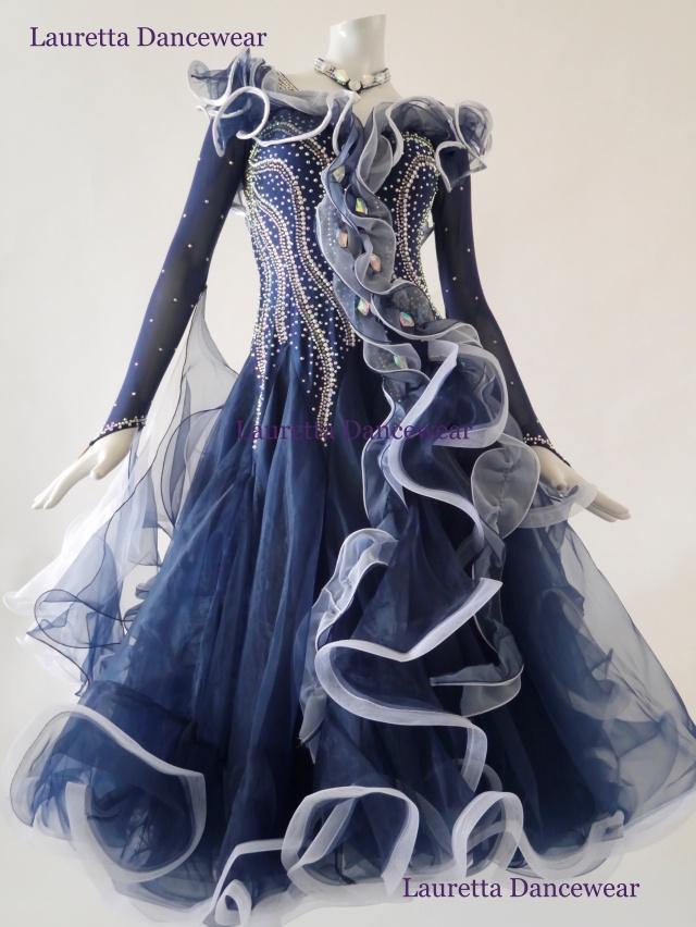 【社交ダンスドレス・衣装】スタンダード/モダン 高級仕様 ネイビーブルー/ホワイト ST20906(M)