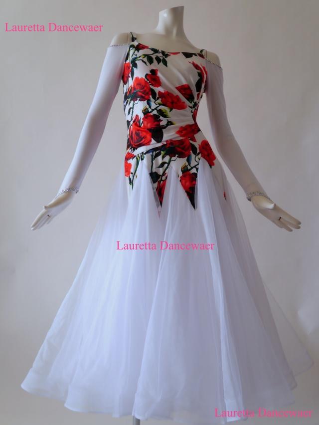 【社交ダンスドレス・衣装】パーティドレス/レッスン着 ホワイト/ローズプリント OP20159(M)
