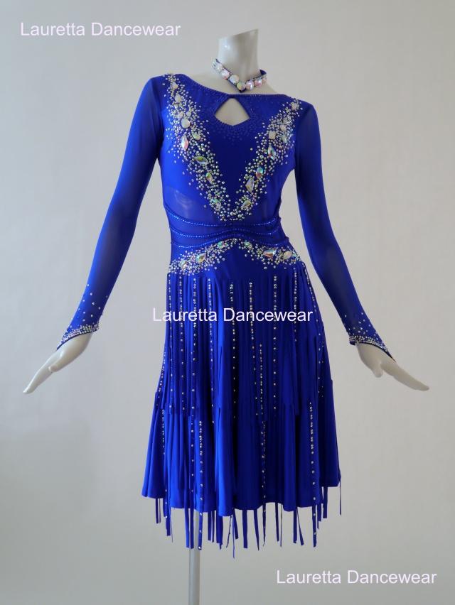 【社交ダンスドレス・衣装】LT20262 ラテンドレス 高級仕様 ロイヤルブルー(M)