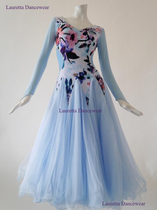 【社交ダンスドレス・衣装】OP20181 パーティドレス/レッスン着 ライトブルー (M)