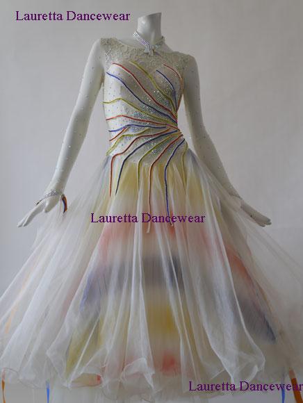 84541fad5c7a1  社交ダンスドレス・衣装 スタンダード モダン 高級仕様 バニラ レインボー ST20838