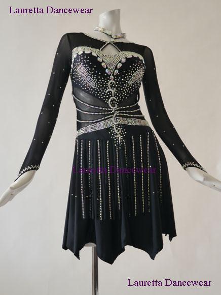 【社交ダンスドレス・衣装】高級仕様 ラテンドレス ブラック LT20218 (L) 送料無料/代引き手数料無料