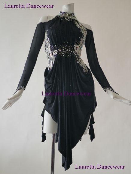 【社交ダンスドレス・衣装】高級仕様 ラテンドレス ブラック/シルバー刺繍モチーフ LT40003 (M)