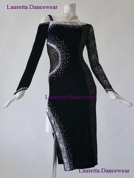 【社交ダンスドレス・衣装】高級仕様 ラテンドレス ブラック/ベロア ブラックレース LT20021 (M) 送料無料