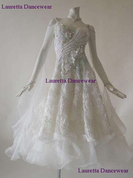 【社交ダンスドレス・衣装】スタンダード/モダン ホワイト/3Dローズスカート ST20835(M)