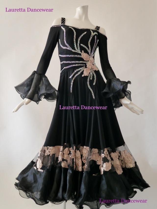 【社交ダンスドレス・衣装】パーティドレス/レッスン着 ブラック/刺繍スカート OP20164(M)