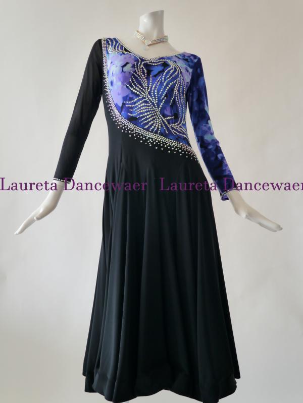 【社交ダンスドレス】パーティードレス レッスンウエア ブラック/ブルー OP20135(XL)