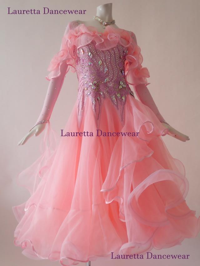 【社交ダンスドレス・衣装】スタンダード/モダン 高級仕様 パウダーピンク ST20901(M)
