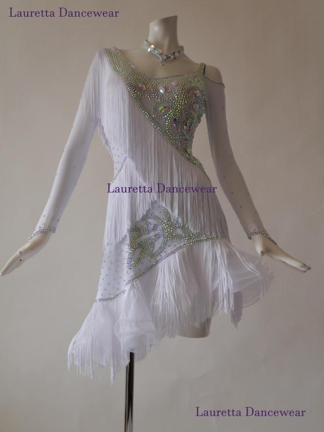 【社交ダンスドレス・衣装】高級仕様 ラテンドレス ホワイト/フリンジ LT20025 (L)
