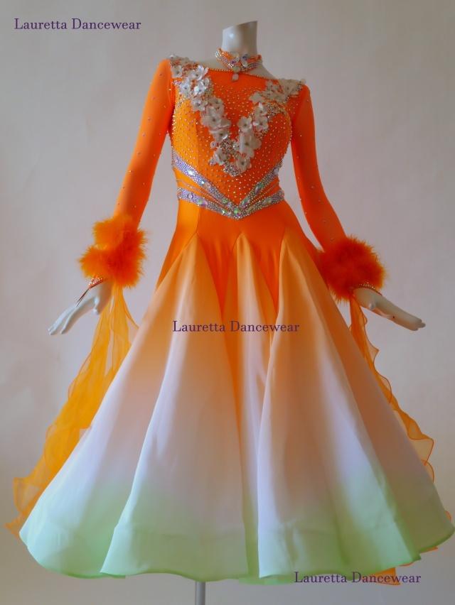 【社交ダンスドレス・衣装】スタンダード/モダン 高級仕様 オレンジ/ライトグリーングラデーション/フェザー ST20873 (M)