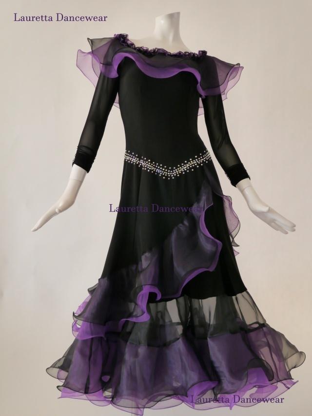 【社交ダンスドレス・衣装】パーティドレス/レッスン着 ブラック/パープル OP20142(L)