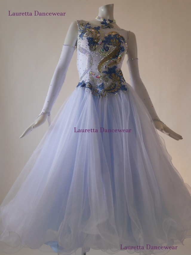 【社交ダンスドレス・衣装】スタンダード/モダン 高級仕様 ピュアホワイト/ライトブルー ST20878(S)