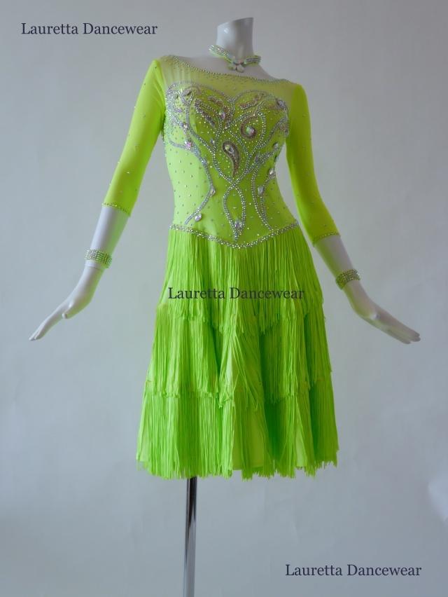 【社交ダンスドレス・衣装】ラテンドレス 高級仕様 ネオングリーン/フリンジ LT20221(M)