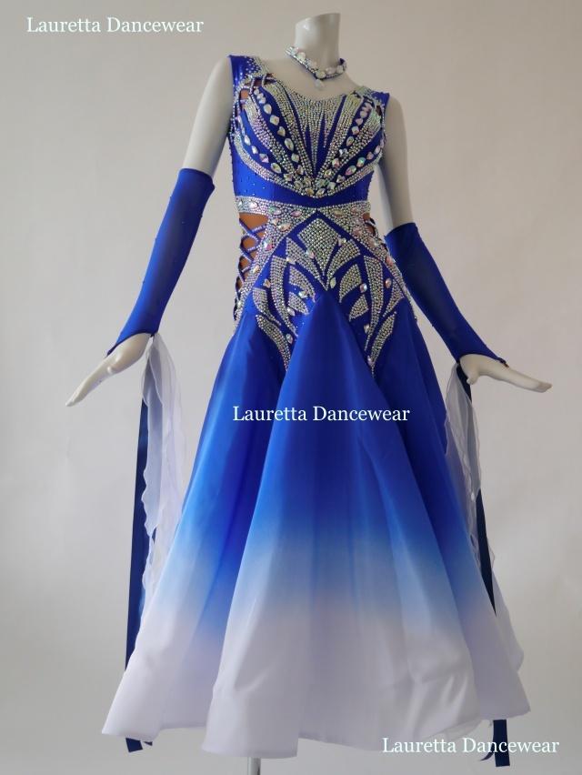 【社交ダンスドレス・衣装】スタンダード/モダン 高級仕様 ロイヤルブルー ST20912(M)