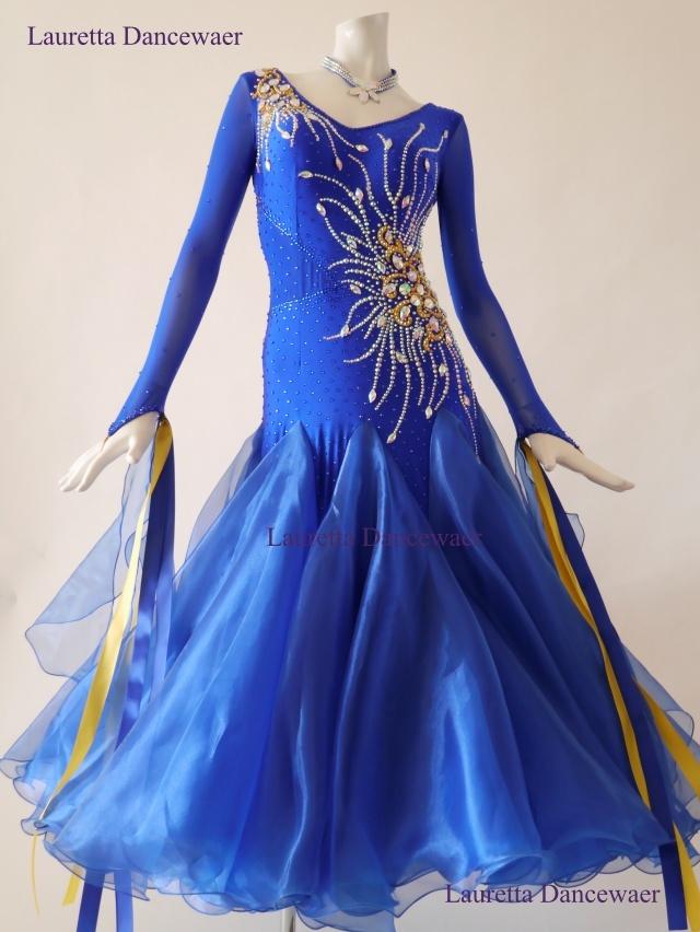 【社交ダンスドレス・衣装】ST20923 スタンダード/モダン 高級仕様 ロイヤルブルー/イエロー(M)