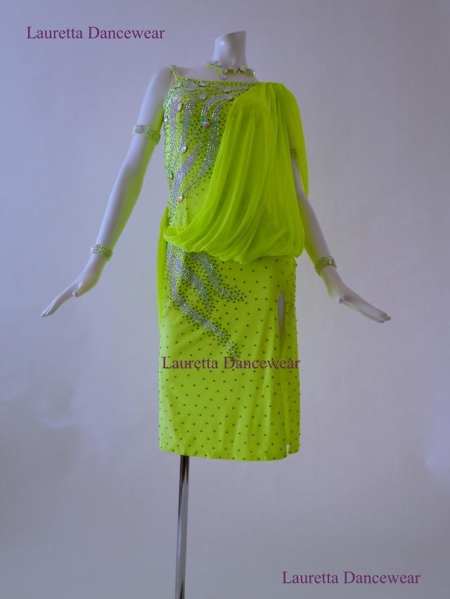 【社交ダンスドレス・衣装】LT20261 ラテンドレス 高級仕様 ネオングリーン(M)