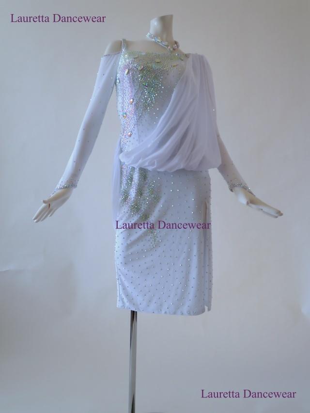 【社交ダンスドレス・衣装】LT20263 ラテンドレス 高級仕様 ホワイト(M)
