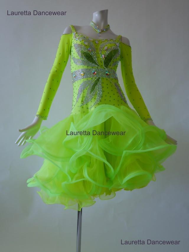 【社交ダンスドレス・衣装】LT20265 ラテンドレス 高級仕様 ネオングリーン(L)