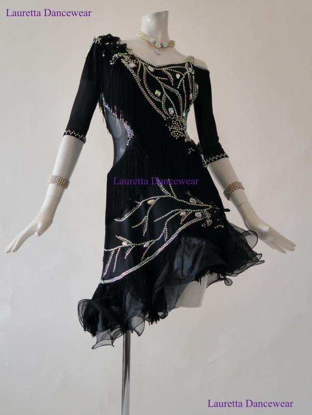 【社交ダンスドレス・衣装】高級仕様 ラテンドレス ブラック/フリンジ LT20266 (L)