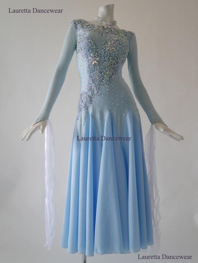 【社交ダンスドレス・衣装】ST20933 スタンダード/モダン 高級仕様 パウダーブルー ST20933(M)