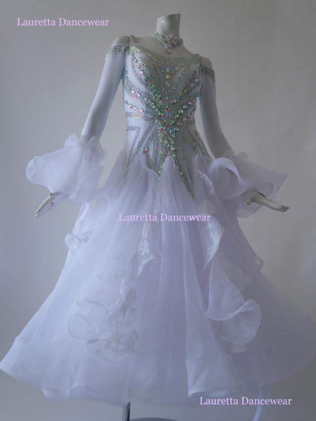 【社交ダンスドレス・衣装】ST20943 スタンダード/モダン 高級仕様 ピュアホワイト(M)