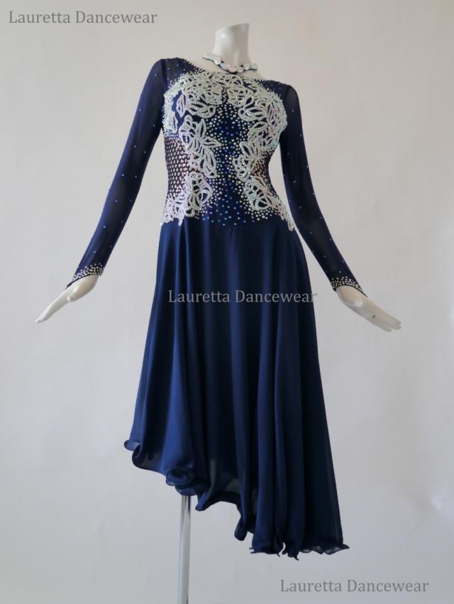 【社交ダンスドレス・衣装】LT20267 ラテンドレス 高級仕様 ネイビーブルー ホワイト(L)