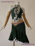 わけあり【社交ダンスドレス・衣装】ラテンドレス ディープグリーン LT20195 (M) 送料無料