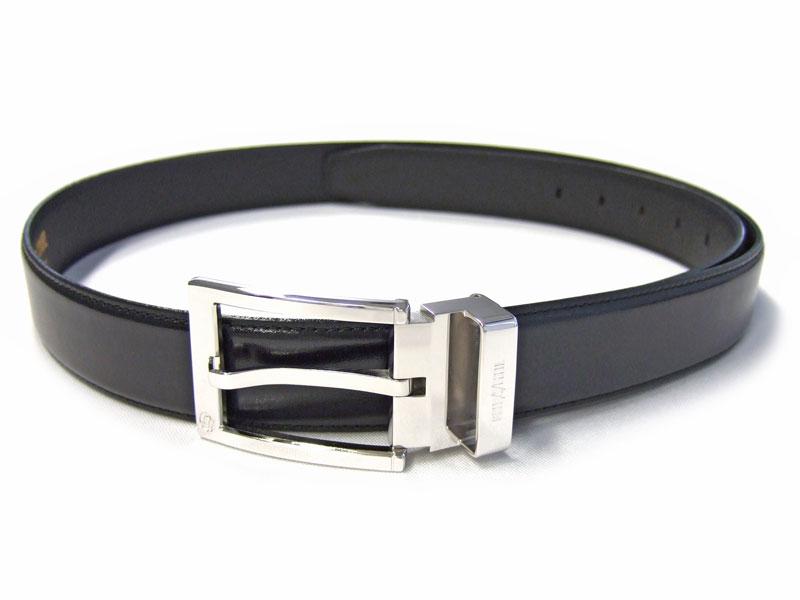 CROWN(クラウン) スムースレザー 30mm幅 ピン式 ベルト「ゴールドファイル」 GB59513 クロ 正面