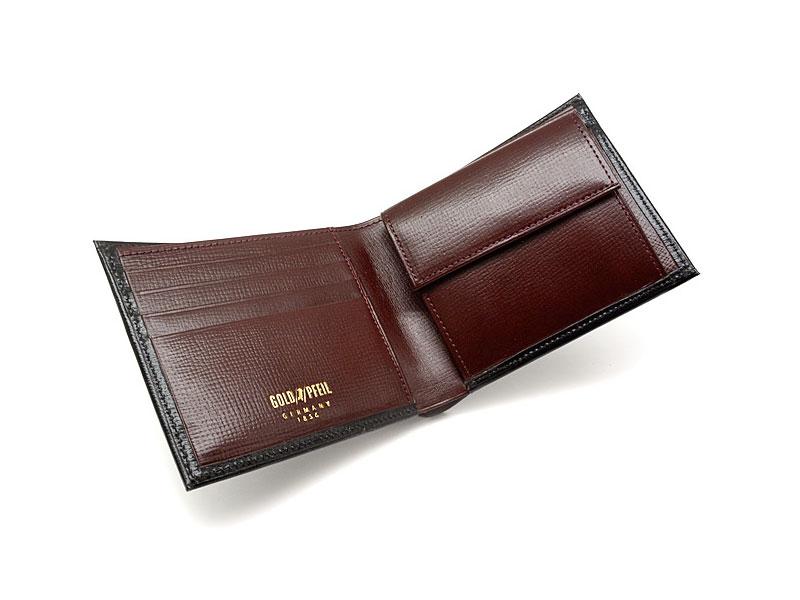 ヘリテージ 二つ折り財布(小銭入れあり) 「ゴールドファイル」 GP23120 ブラック 内作り