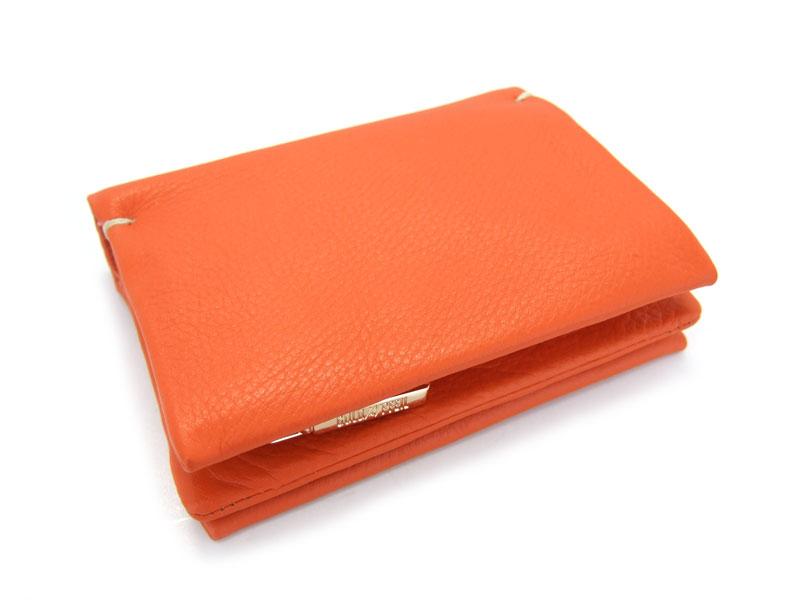 Natural(ナチュラル) 二つ折り財布(ファスナー小銭入れ付き) 「ゴールドファイル」 GP54214 オレンジ 正面
