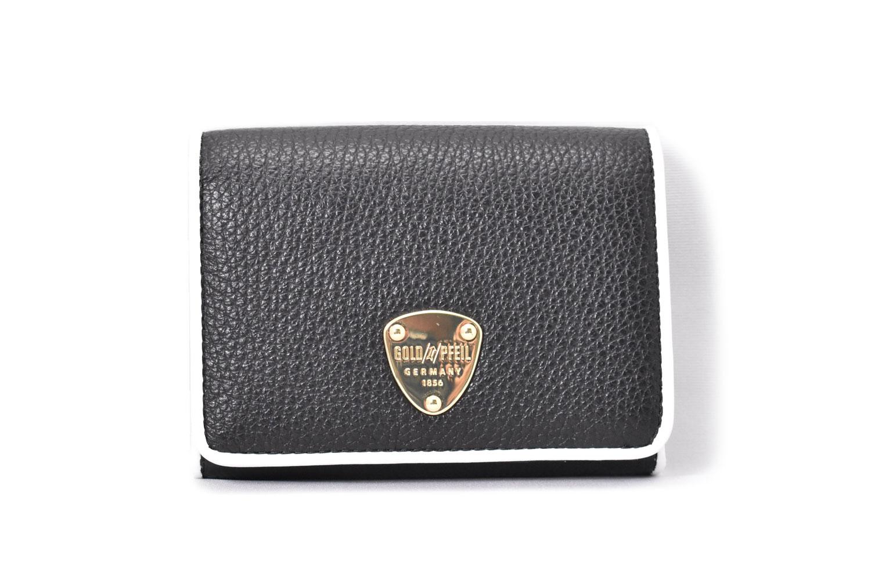LINES(ラインズ) 二つ折り財布(小銭入れあり) 「ゴールドファイル」 GP57213 クロ 正面