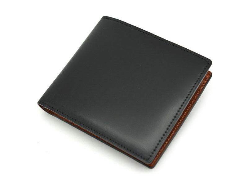 NP53130 コードバン ナチュラルグレージング 二つ折り財布(小銭入れあり)  「プレリーギンザ」 クロ 正面
