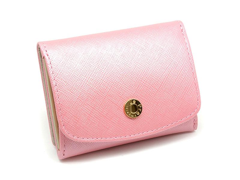 NPL1385 Bijue(ビジュー) 三つ折り財布(小銭入れあり) 「ル・プレリー 」  ピンク 正面