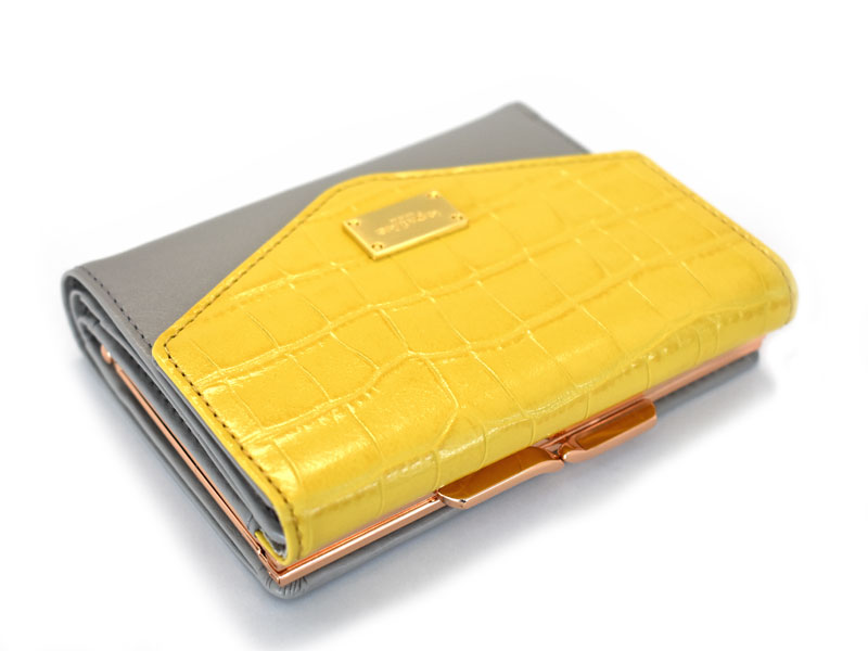 Fascino(ファッシノ) がま口二つ折り財布(小銭入れあり) 「ル・プレリーギンザ 」 NPL3314 イエロー 正面
