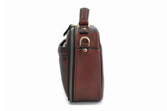 オックスフォード レザーメンズバッグ 「ゴールドファイル」 901109 バーガンディ 側面