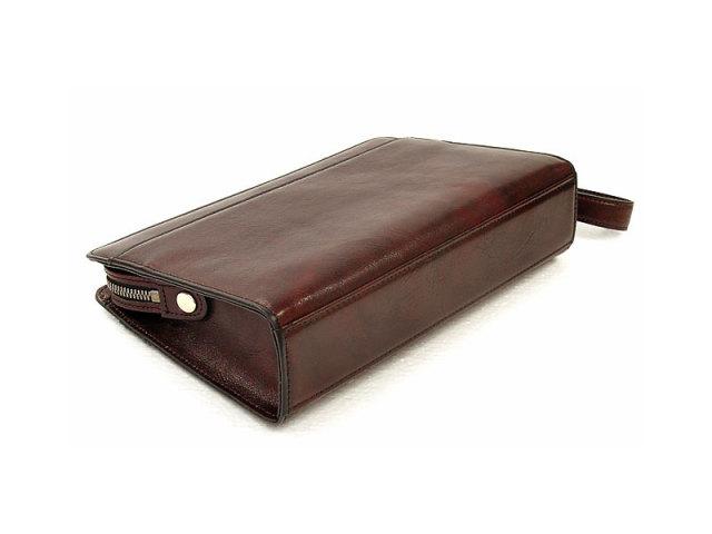 オックスフォード クラッチバッグ セカンドバッグ 「ゴールドファイル」 901201 バーガンディ 背面・底面