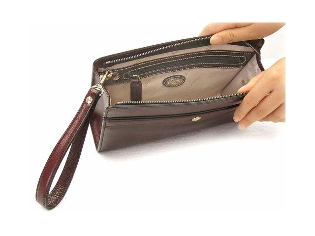 オックスフォード クラッチバッグ セカンドバッグ 「ゴールドファイル」 901201 バーガンディ 内装