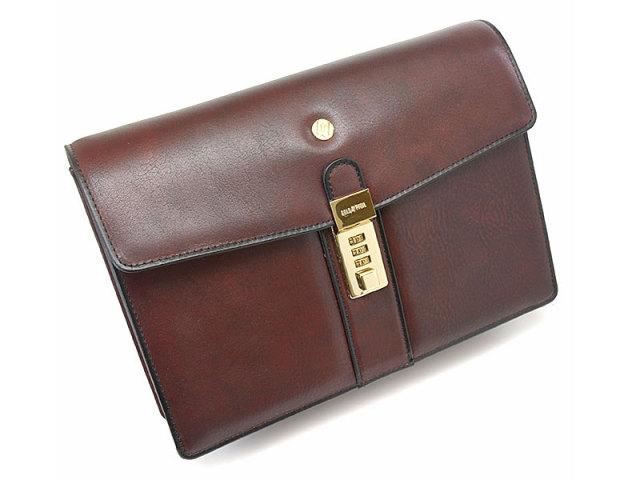 オックスフォード クラッチバッグ セカンドバッグ 「ゴールドファイル」 901205 バーガンディ 正面