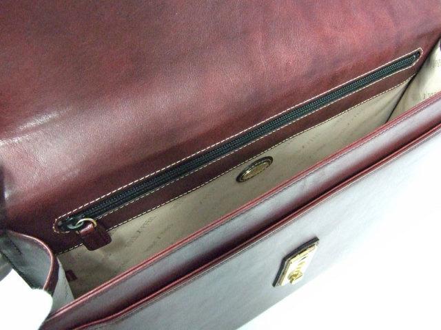オックスフォード A4ブリーフケース  「ゴールドファイル」 901508 バーガンディ 内作り