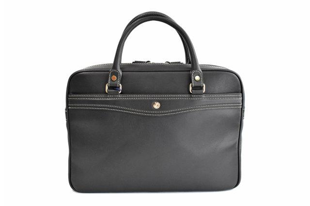 オックスフォード レザーメンズビジネスバッグ A4ジャストサイズ 「ゴールドファイル」 901513 ブラック 正面