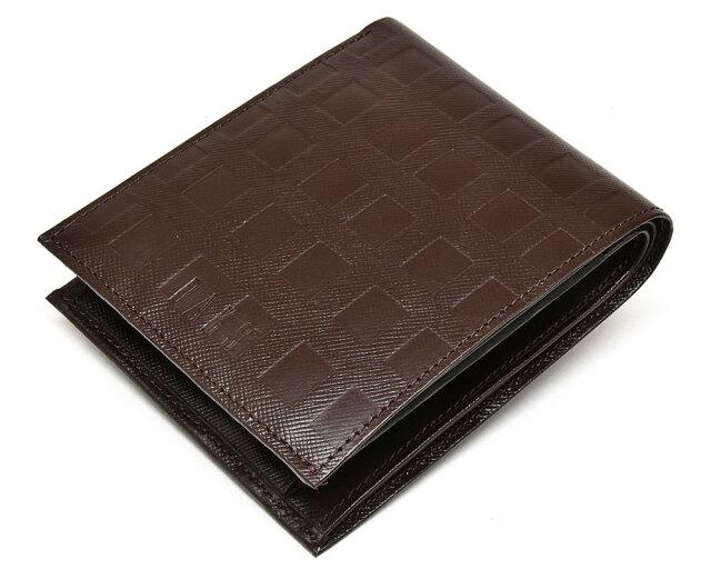 Checker emboss(チェッカーエンボス) 二つ折り財布(小銭入れあり)  「DAKSダックス」 DP25113 チョコ 正面