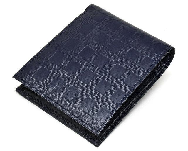 Checker emboss(チェッカーエンボス) 二つ折り財布(小銭入れあり)  「DAKSダックス」 DP25214 コン 正面