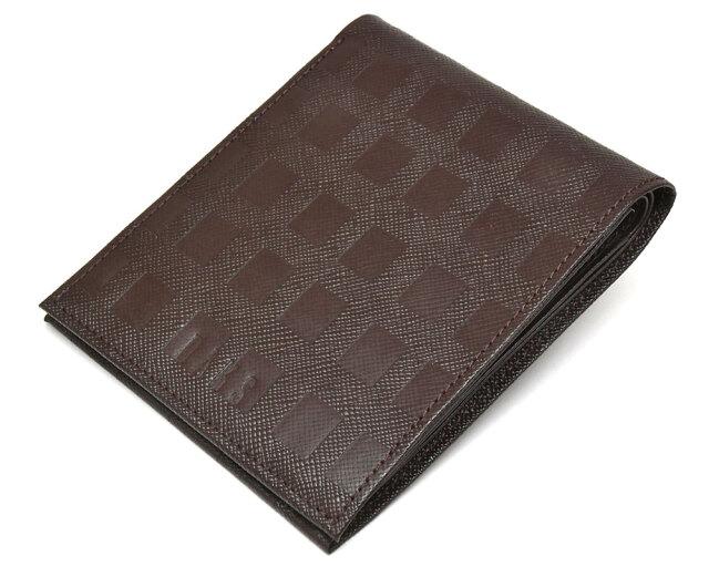 Checker emboss(チェッカーエンボス) 二つ折り財布(小銭入れなし)  「DAKSダックス」 DP25811 チョコ 正面