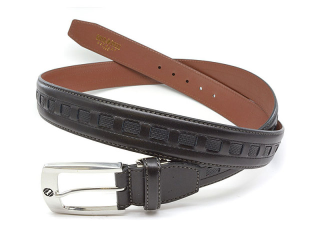 牛革 カジュアルベルト 35mm幅 ピン式 ロングサイズ 「ゴールドファイル」 GB572-GB575 クロ 正面