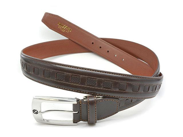 牛革 カジュアルベルト 35mm幅 ピン式 ロングサイズ 「ゴールドファイル」 GB572-GB575 チョコ 正面