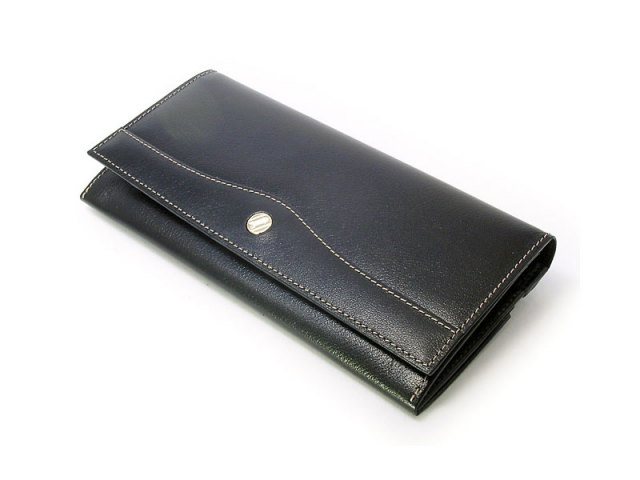 オックスフォード コンパクト長財布(小銭入れあり) 「ゴールドファイル」 GP10220 ブラック 正面