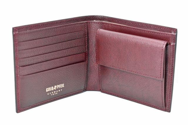 オックスフォード 二つ折り財布(小銭入れあり) 「ゴールドファイル」 GP10320 バーガンディ 内作り