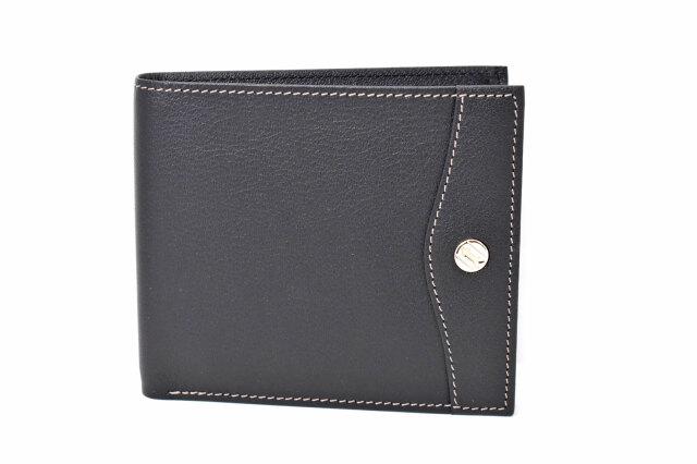 オックスフォード 二つ折り財布(小銭入れなし) 「ゴールドファイル」 GP10518 ブラック 正面